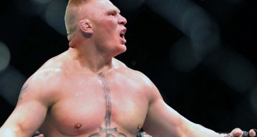 WWE champion Brock Lesnar attends the UFC 184 pay-per-view