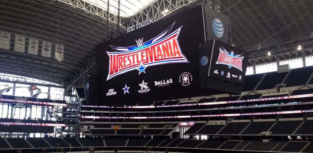 WrestleMania stage and entrance go up at AT&T Stadium