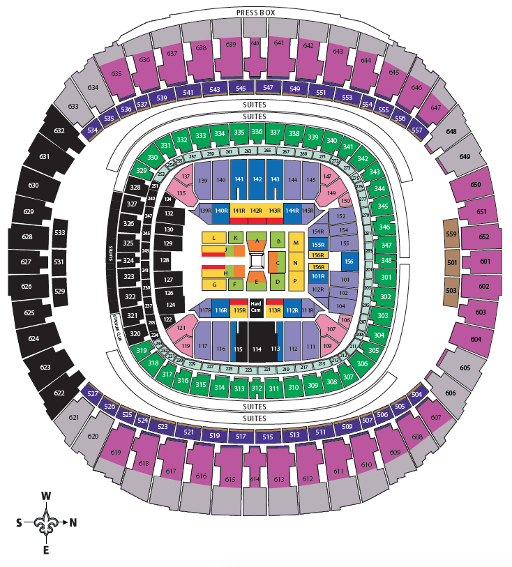 Wrestlemania 34 ticket prices and seat chart for Mercedes benz superdome layout